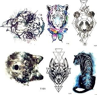 lijinjin Acuarela Tigre Lobo Temoprary Tatuajes Pegatinas Mujeres ...