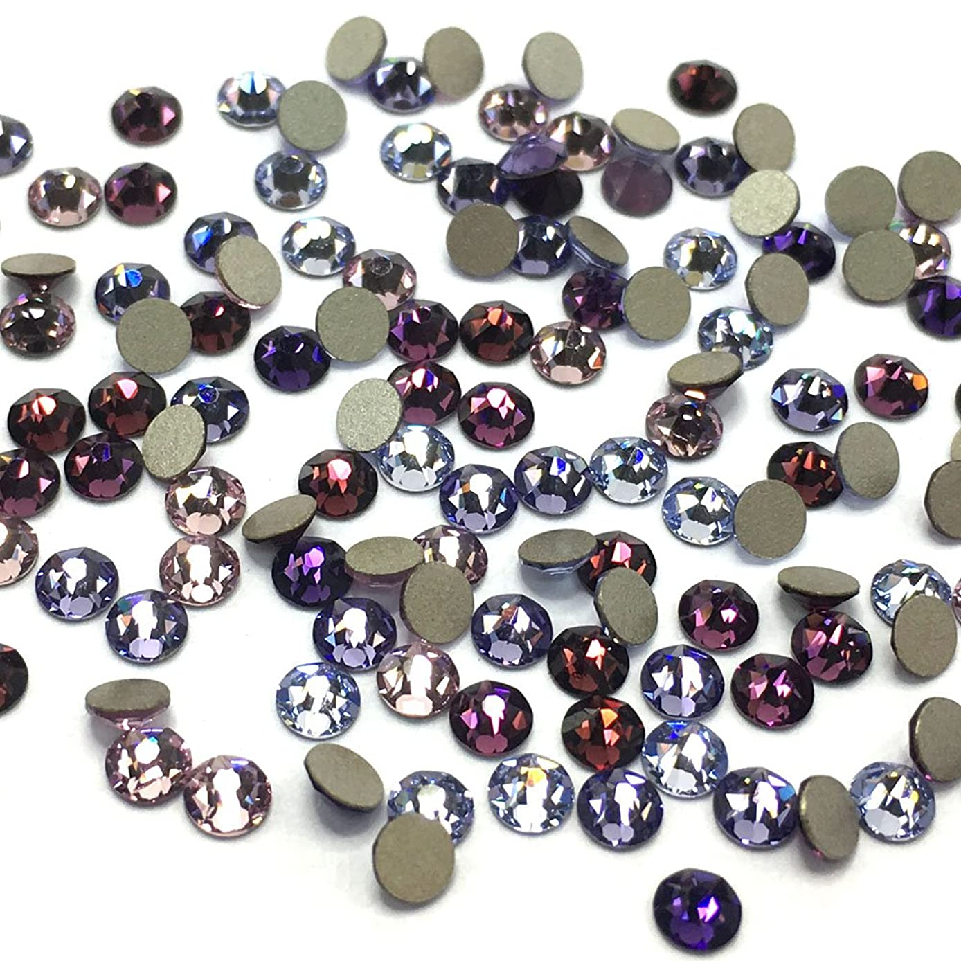 144 pcs (1 gross) Swarovski 2058 Xilion / 2088 Xirius SS12 (3.1mm) crystal flatbacks No-Hotfix rhinestones nail art PURPLE Color Mix **FREE Shipping from Mychobos (Crystal-Wholesale)**