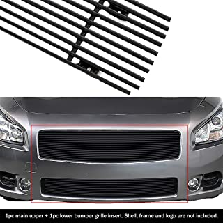 APS Compatible with 2009-2014 Nissan Maxima Black Billet Grille Grill Combo Insert N87774H