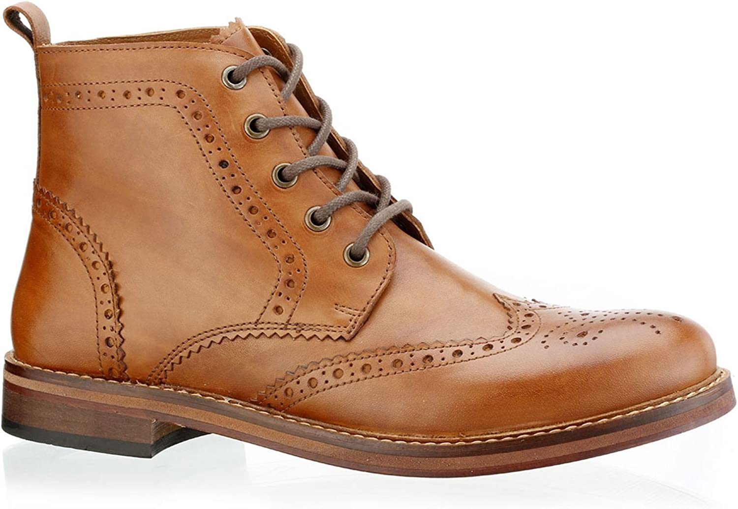 Red Tape Mens Tan Claredon Leather Boots Brogues Lace Up Leather Sole
