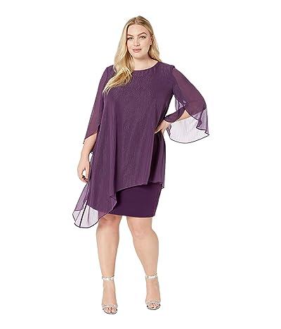 Tahari by ASL Plus Size Metallic Overlay Dress (Plum) Women
