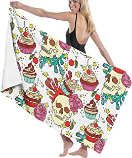 """Skull Cupcake Flowers Pattern Beach Towels Polyester Quick Dry Soft Bath Sheets,Summer Novelty Camping Large Bath Towels for Yoga Mat Beach Cover Blanket 31.5"""" X 51.2"""""""