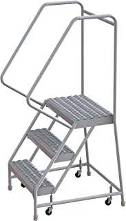 Tri-Arc WLAR103245 3-Step All-Welded Aluminum Rolling Industrial & Warehouse Ladder with Handrail, Grip Strut Tread, 24-Inch Wide Steps