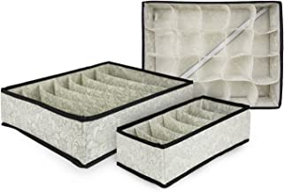 DII Breathable Non-Woven Soft Storage Assorted Foldable Drawer Dividers for Organizing Bras, Underwear, Socks, & More, Inc...