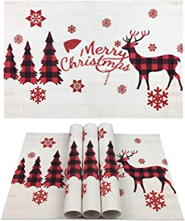 WAZAIGUR Place Mats for Kitchen/Dinner Table,Christmas Placemats,Reindeer Snowflake Christmas Trees Washable Easy to Clean Heat-Resistant Non Slip PVC Woven Vinyl Placemats(Set of 4,Red and White)