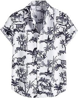 Hombre Camisa de Hawaiana Manga Corta Verano Casual Camiseta Flojo Deporte Tops Primavera Blusa Elegante Originales Tallas...