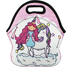 Insulated Neoprene Lunch Bag Tote Violet Mist Unicorn Cartoon Style Outdoor Picnic Handbag Lunch Box Food Container for Women Girls Boys Kids Adults (Unicorn)