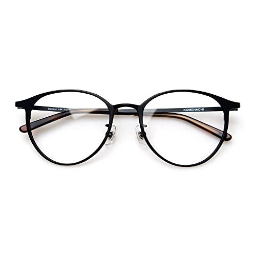 48ee93d41a3 Komehachi - Ultra Light Slim Round Metal RX-Ready Clear Lens Eyeglasses  Frame