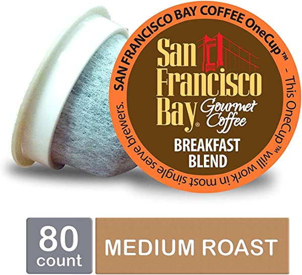San Francisco Bay OneCup Breakfast Blend Single Serve Coffee K Cup Pods 80 Count Keurig Compatible