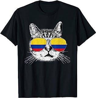 Colombia Flag T Shirt Colombian Pride Cat Men Women Kids Tee T-Shirt