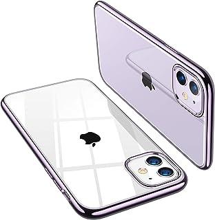 TORRAS iPhone 11 用ケース背面クリア+メッキ加工 超薄型 超軽量 ソフトTPU 黄変防止「X-SHOCK」耐衝撃 SGS認証 レンズ保護 アイフォン 11 用カバー(パープル)「Shiny Series」