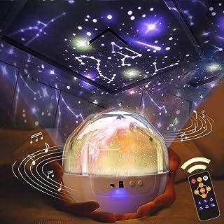 「最新版 リモコン式」スタープロジェクターライト 星空ライト 音楽再生 寝かしつけ用おもちゃ スターナイトライト, 360度回転ライト 家庭用 プラネタリウム 6種類投影映画 海プロジェクター プラネタリウム クリスマス プロジェクターライト ...