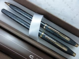 Cross Made in The USA Century II MIca Gray and 23k Gold Fountain Pen and 0.5MM Pencil Set