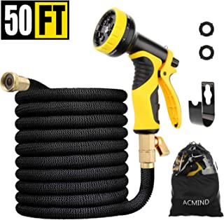 """Acmind 50FT Expandable Garden Hose, Extra Strength Fabric and Double Latex Core Water Hose, 3/4"""" Solid Brass Fittings Flexible No-Kink Expanding Hose with 9 Function Spray Nozzle"""
