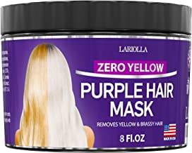 Purple Hair Mask for Blonde - Instantly Eliminate Brassiness & Yellows - Made in USA - Hair Toner with Keratin & Jojoba Oil - Bleached & Highlighted Hair - Sulfate Free - No Yellow Mask - 8oz