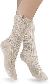 Celodoro Damen und Herren Trachten Socken 2 Paar mit Edelweiß-Pin, Oktoberfest Strümpfe