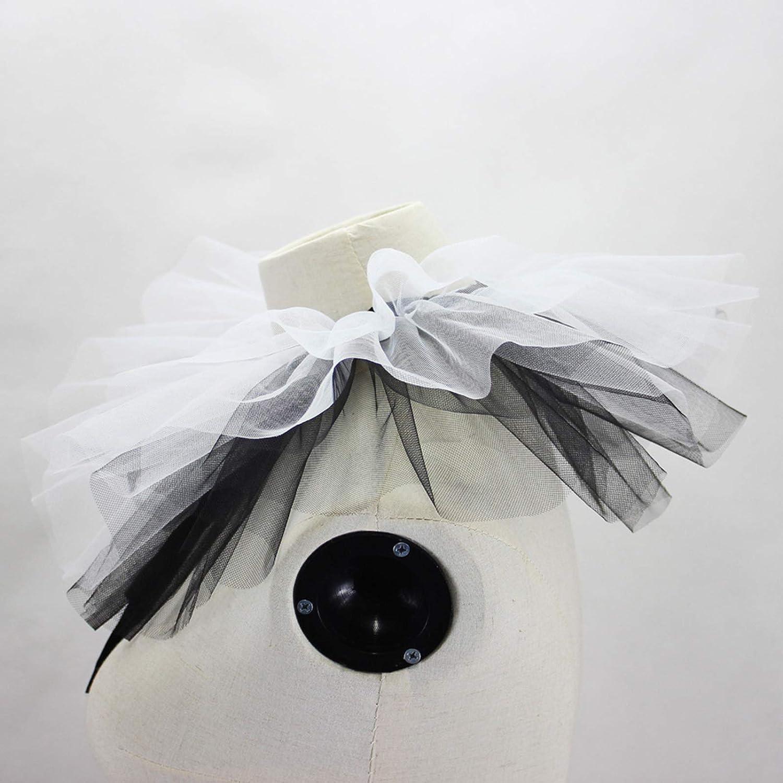 YOUSIKE Detachable Shawl, Women Renaissance Tulle Ruffled Fake Collar Layered Black White Mesh Clown Choker Lace-Up Ribbon Victorian Neck Ruff Shawl Cosplay Props