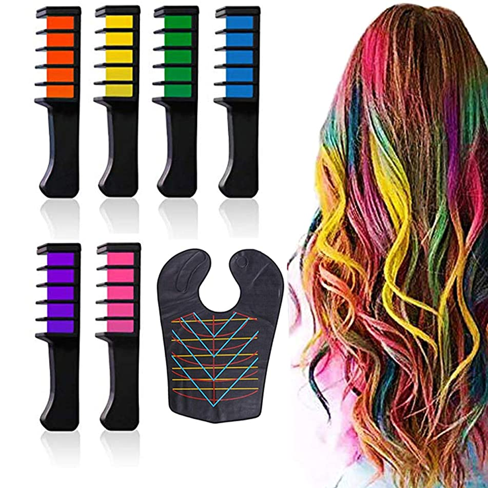 TLHOME Hair Chalk Comb Shimmer Temporary Hair Color Cream with Waterproof Hair Dye Cape for Girls Hair Salon Games,Birthday Party,Cosplay 7 Piece