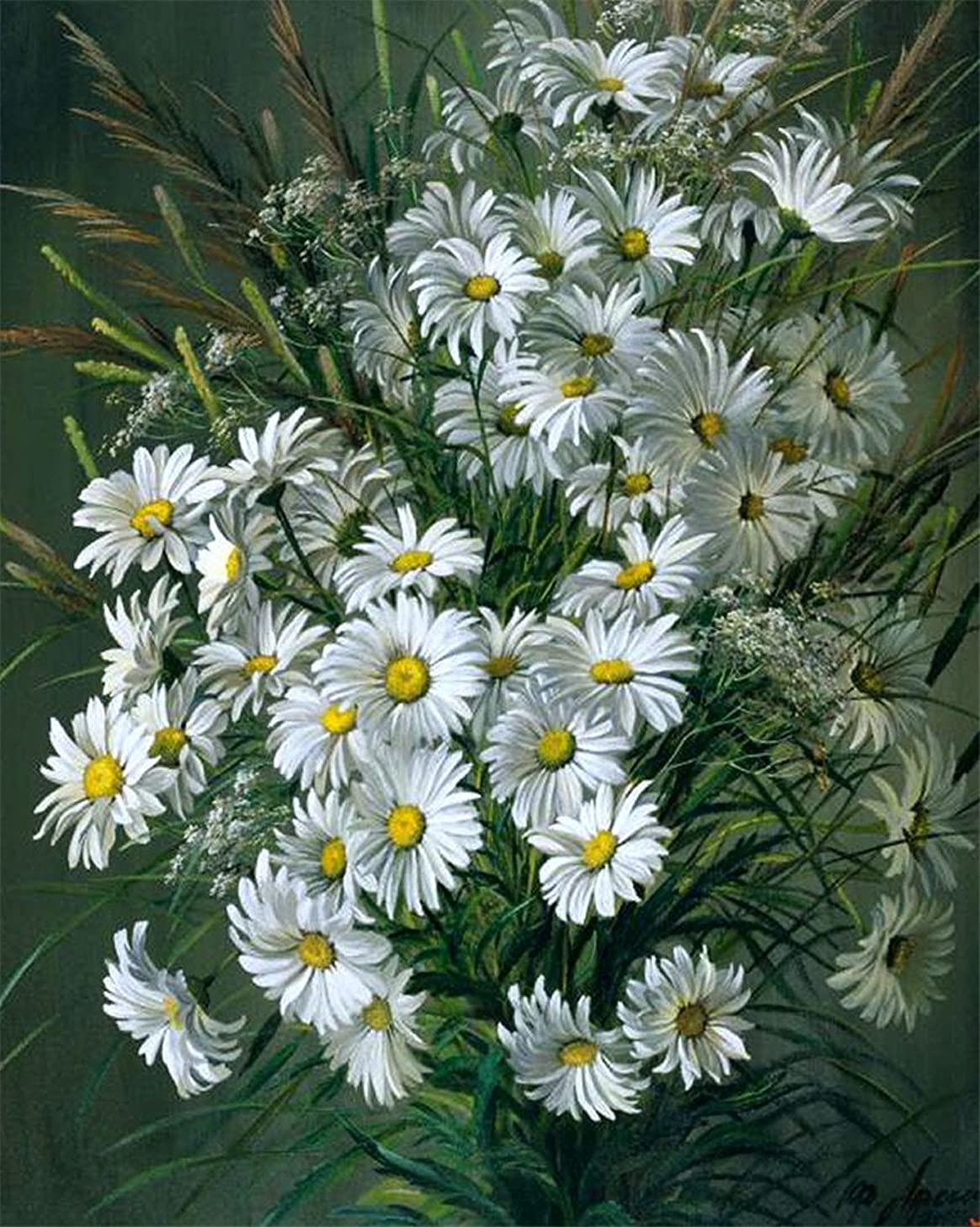 YEESAM Art Paint by Number Kits for Adults Kids - White Daisies 16x20 inch Linen Canvas (Without Frame)