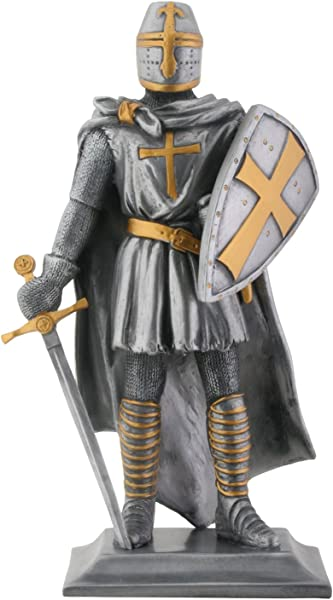 Templar Knight Medieval Collectible Statue Figurine H 9