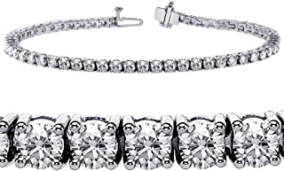 6.00 CT TW 4 Prong Round Diamond Tennis Bracelet in 14k White Gold (F-G-color/VS2-SI1-clarity)