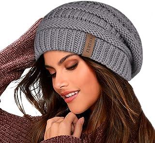 FURTALK Knit Beanie Hats for Women Men Double Layer Fleece Lined Slouchy Winter Skull Cap Hat