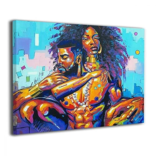 5ee724174f7 Okoart Canvas Wall Art Prints African American Lovers Couple Photo  Paintings Contemporary Decorative Artwork for Living