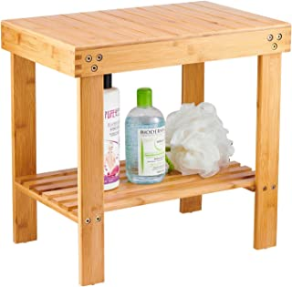 Bamboo Spa Bench Wood Seat Stool Foot Rest Shaving Stool with Non-Slip Feets Storage Shelf for Shampoo Towel,Works in Bathroom/Living Room/Bedroom/Garden Leisure
