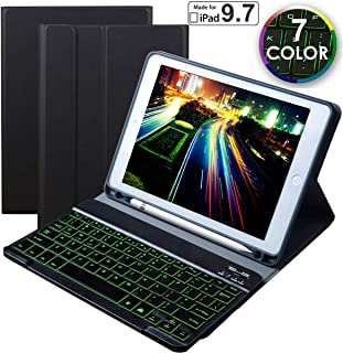 Eoso 7 Color Backlit Keyboard case for New 2018 2017 iPad Pro 9.7 iPad Air 1, 2 with Detachable Quiet Slim Leather Folio Cover Built-in Pencil Holder(Black)