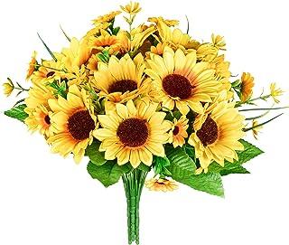 YQing Lot de 3 bouquets de tournesols artificiels en soie, fleurs jaunes pour décoration de la maison, de mariage