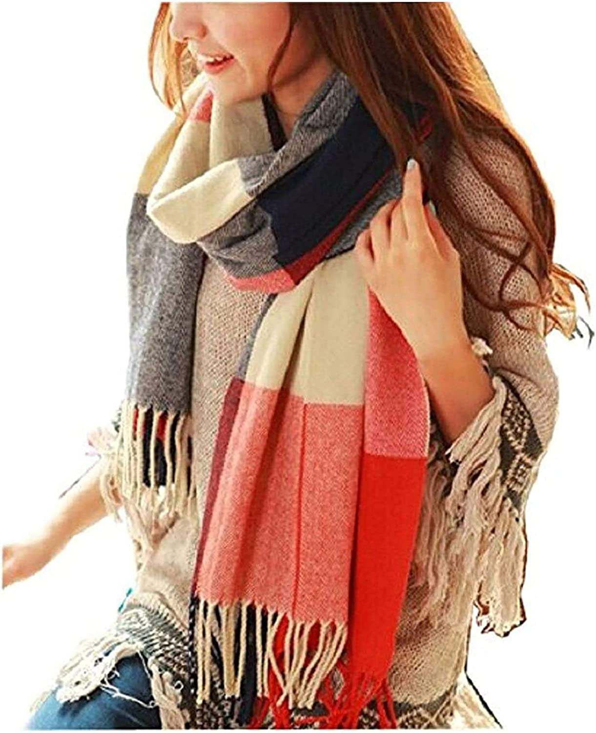 Women's Scarf Soft Scarf Women's Scarf MKLP Tassel Scarf Winter Ladies Scarf Large Warm Shawl Plaid Scarf Large Shawl Keep Warm and Prevent Cold Fringed