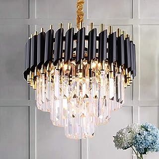 Lustre en cristal moderne à 3 niveaux, cristaux de goutte de pluie, luminaire suspendu, éclairage de plafond noir pour sal...