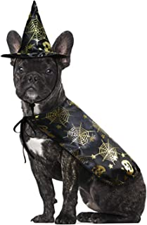RYPET Halloween Dog Costume - Pet Halloween Costume Cloak with Witch Hat, Halloween Party Dress Up Accessories for Small and Medium Dogs