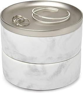 UMBRA Tesora Box. Boîte à bijoux en résine de marbre et métal nickel. Dimension 12.7cm x 11.4cm
