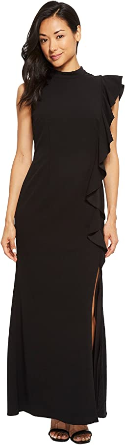 Adrianna Papell - Petite Sleeveless Mock Neck Flutter Acent Knit Crepe Gown