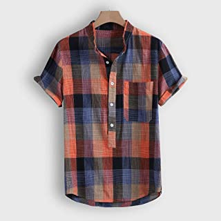 JYDQM Fashion Men's Shirt Streetwear Casual Short Sleeve Shirt Button Plaid Print Beach Blouse Top (Color : XXXL code)