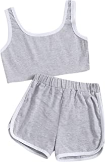 Romwe Girl's Workout Shorts Set Ringer Crop Tank Tops and Shorts 2 Piece Outfit