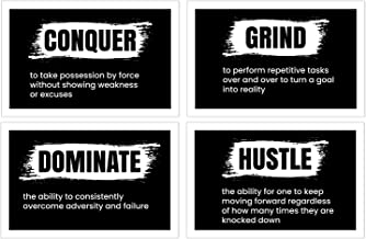 Damdekoli Definition Hustle Dominate Grind Conquer Posters, 11x17 Inches, Set of 4, Motivational Wall Art, Entrepreneur Decor, Inspirational Print, Gym Training Fitness, Hustling