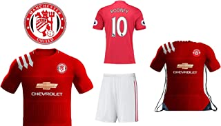 MANU Manchester Ibrahimovic #9 Rooney #10 Pogba #6 Kids Youth Soccer Gift Set - Soccer Jersey - Shorts - Jersey Backpack