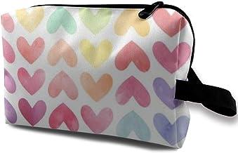Bolsa de maquillaje para cosméticos coloridos con diseño de corazones de acuarela para San Valentín multifuncional bolsa de viaje bolsa de almacenamiento