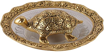 Aatm Brass Figurine Plate with Tortoise Statue Best for Home & Office Decoration & Gift Purpose Handicraft (5.5 Inch)