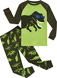 Dolphin&Fish Boys Pajamas 100% Cotton Long Sleeve Toddler Pjs Set Fire Dinosaurs Clothes Kids Pjs Sleepwear