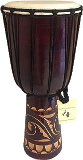 """صدای حرفه ای طبل دستی چوبی طبل دستی JIVE Djembe Bongo Congo طبلی آفریقایی (16 """"بالا - نقاشی شده / حک شده)"""