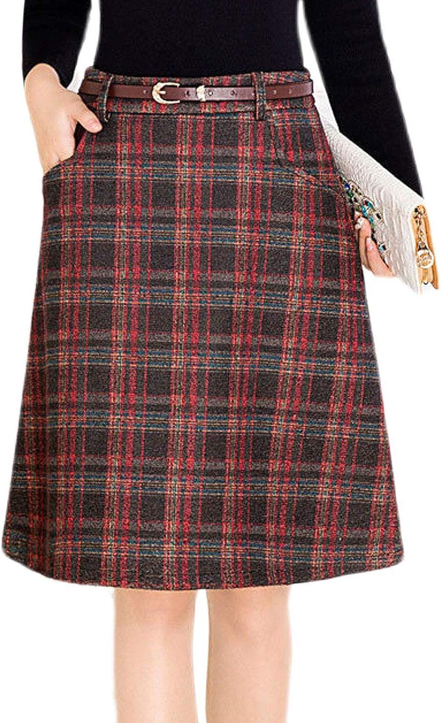 Lentta Women's Casual Slim Thick High Waist Plaid Wool Blend Midi A-Line Skirts