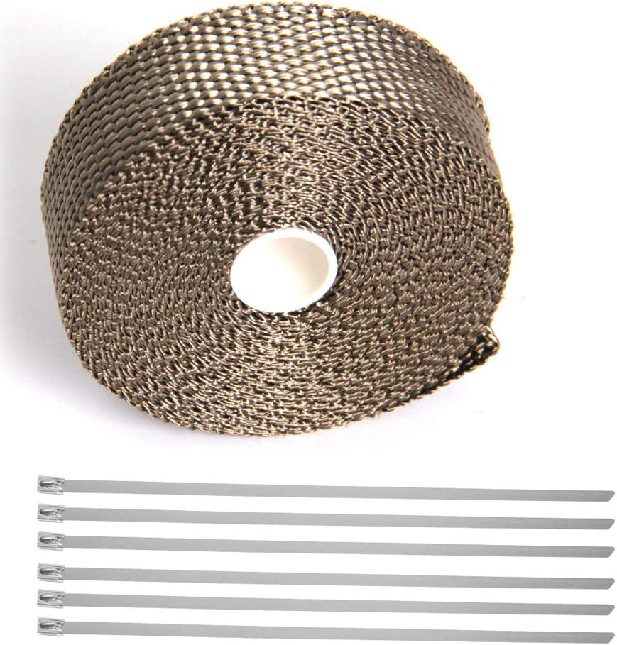 1inch X 33 feet roll twill weave Hiwowsport Lava Titanium Exhaust Wrap Heat Shield of Twill Weave for Auto Manifold With 6pcs Locking Ties