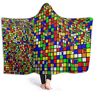 Rubiks Cube World Throw Wrap for Sofa Couch Winter/Autumn, Soft Cozy Sherpa Plus Velvet Hooded Blankets Throw Wearable Cuddle - 60x80 inch