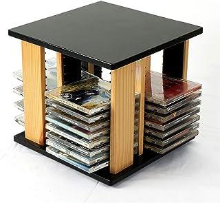 FACAZ Estante de Almacenamiento de CD de Escritorio, Caja de Almacenamiento de CD de Madera con rotación de 360 Grados, ...