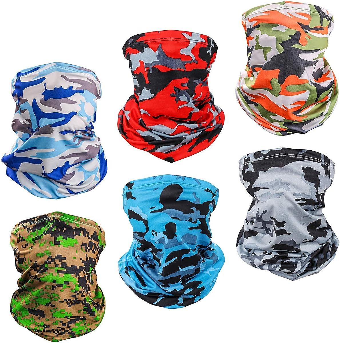 6 Piece UV Protection Neck Gaiter Breathable Summer Face Cover Scarf Bandana