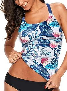 Womens Striped Printed Strappy Racerback Tankini Swim Top No Bottom S - XXXL