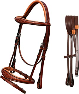 Exion Comfort Lined Crownpiece Designer Fancy Stitched Perfect Raised Anatomical Browband & Double Buckle Jumping Flash Noseband Snaffle English Bridle with Rubber Reins. | English Horse Tack